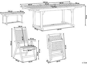 Gartenmöbel Set Akazienholz dunkelbraun 6-Sitzer TOSCANA