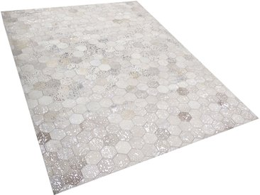 Teppich Kuhfell silber / beige 160 x 230 cm Patchwork Kurzflor BOZKOY