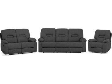 Sofa Set Polsterbezug dunkelgrau 6-Sitzer verstellbar BERGEN
