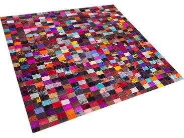 Teppich Kuhfell bunt 200 x 200 cm Patchwork Kurzflor ENNE