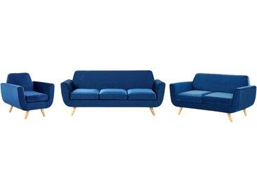 Sofa Set Samtstoff marineblau 6-Sitzer BERNES