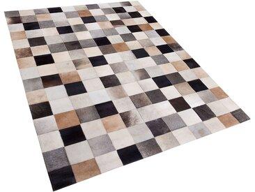 Teppich Kuhfell braun-beige-grau 200 x 300 cm Patchwork SOKE