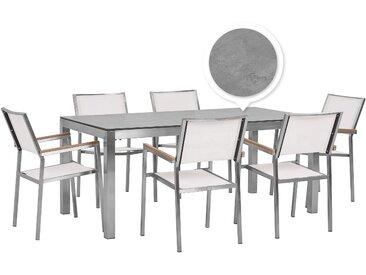 Gartenmöbel Set Betonoptik 180 cm 6-Sitzer Textilbespannung weiß GROSSETO