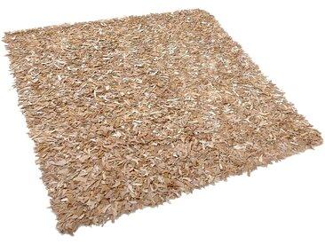 Teppich beige 200 x 200 cm Leder Shaggy MUT