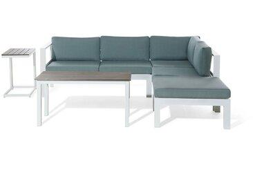 Lounge Set Kunstholz weiß 5-Sitzer Auflagen grün-grau MESSINA