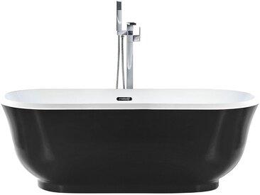 Badewanne schwarz freistehend oval 170 cm TESORO