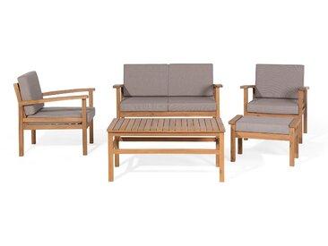 Lounge Set zertifiziertes Holz hellbraun 4-Sitzer Auflagen taupe MANILA