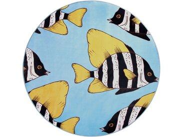 Kinderteppich blau ø 140 cm Fischmuster Kurzflor FIZME
