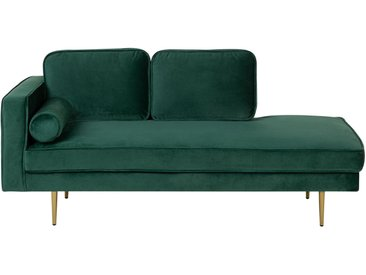 Chaiselongue Samtstoff smaragdgrün linksseitig MIRAMAS