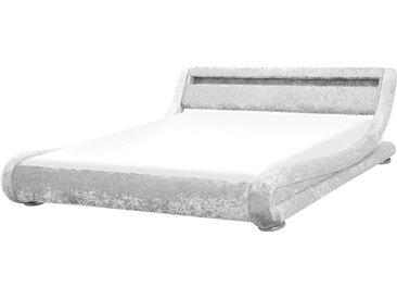 Wasserbett Samtstoff Silber 160 x 200 cm mit LED-Beleuchtung AVIGNON