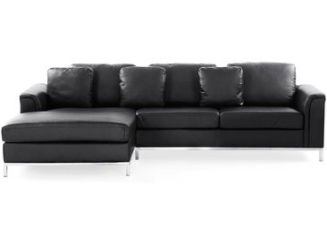 Ecksofa Leder schwarz rechtsseitig OSLO