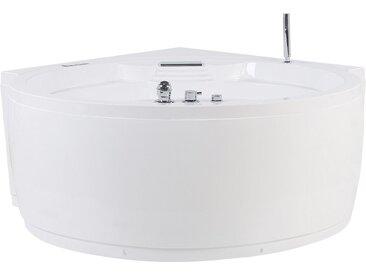 Badewanne-Whirlpool mit Bluetooth Lautsprecher weiß Eckmodell 150 x 114 cm MILANO