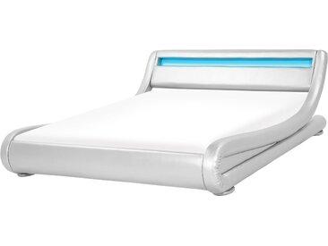 Wasserbett Kunstleder Silber 180 x 200 cm mit LED-Beleuchtung AVIGNON