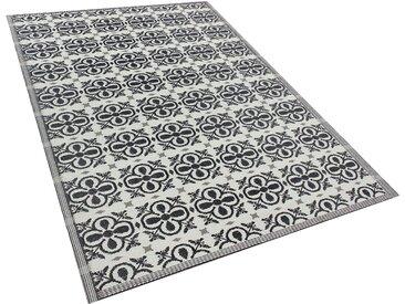Outdoor Teppich schwarz 180 x 270 cm Blumenmuster NELLUR