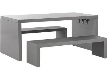 Gartenmöbel Set U-Form Beton grau Tisch mit 2 Bänken TARANTO