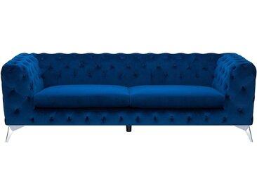 3-Sitzer Sofa Samtstoff dunkelblau SOTRA