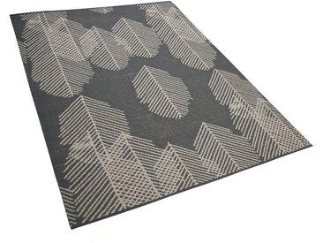 Outdoor Teppich grau mit Blättermuster 160 x 230 cm zweiseitig MEZRA