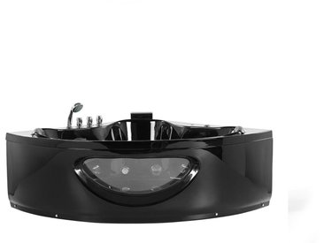 Whirlpool-Badewanne schwarz Eckmodell mit LED 140 cm TOCOA