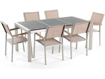 Gartenmöbel Set Naturstein schwarz geflammt 180 x 90 cm 6-Sitzer beige Stühle GROSSETO