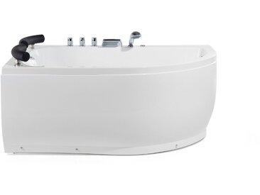 Whirlpool-Badewanne weiß Eckmodell mit LED 160 cm rechts PARADISO