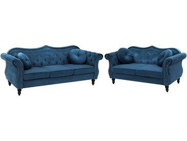 Sofa Set Samtstoff kobaltblau 5-Sitzer SKIEN