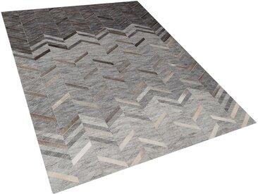 Teppich Leder grau 160 x 230 cm Kurzflor ARKUM