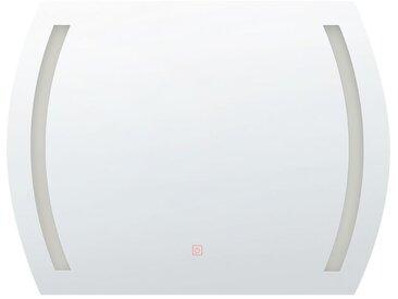 Badspiegel mit LED-Beleuchtung halbrund 80 x 60 cm ARQUES