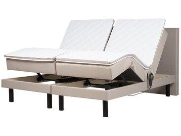Polsterbett Leinenoptik beige elektrisch verstellbar 180 x 200 cm EARL