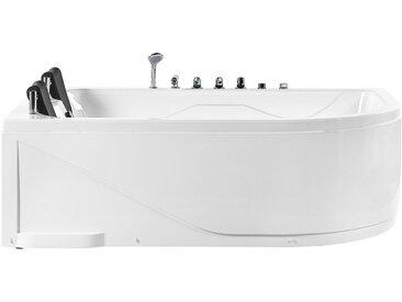 Whirlpool-Badewanne weiß Eckmodell mit LED 180 cm rechts PELAITA