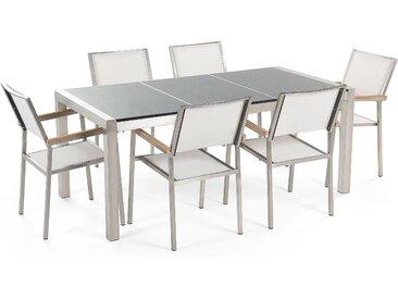 Gartenmöbel Set grau Granit poliert 180 x 90 cm 6-Sitzer Stühle Textilbespannung weiß GROSSETO