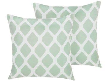 Gartenkissen Rautenmuster mintgrün/weiß 40 x 40 cm 2er Set