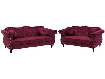 Sofa Set Samtstoff dunkelrot 5-Sitzer SKIEN