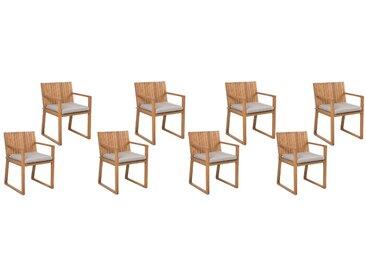 Gartenstuhl hellbraun Akazienholz Auflage taupe 8er Set SASSARI