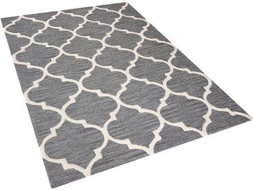 Teppich grau 140 x 200 cm marokkanisches Muster Kurzflor YALOVA