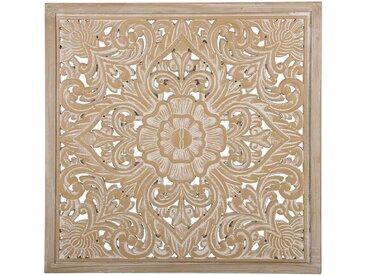 Wanddekoration heller Holzfarbton / weiß YONORA