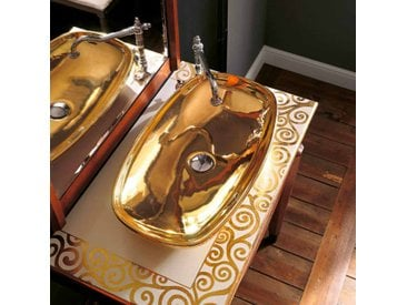 modernes Aufsatzwaschbecken aus Fire Clay 24k Gold made in Italy, Azelio