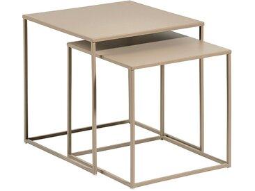 Beistelltisch-Set aus Metall in Sandfarben, bis L40xB40xH40 cm, 2-tlg.