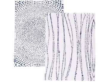 Geschirrtuchset Ruka, weiß/blau, 2er-Set