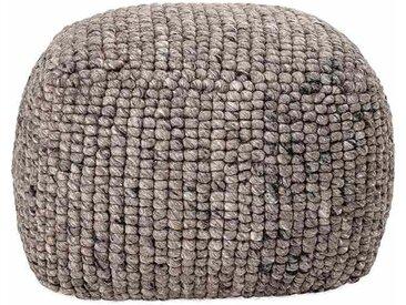 Pouf Boston aus Wolle, grau, Ø61xH45 cm