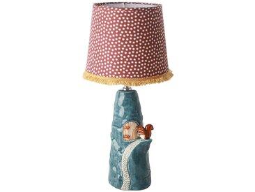 Keramik-Tischlampe Eichhörnchen mit Schirm, blau/rot, H36,5 cm