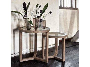 Beistelltisch-Set aus Holz/Glas bis Ø60xH60 cm, 2-tlg.