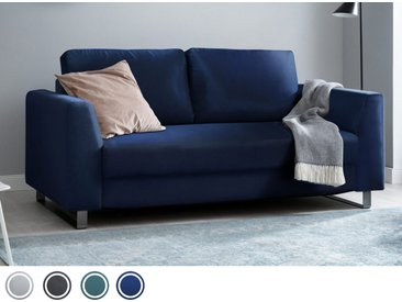 Schlafsofa 2-Sitzer aus blauem Samt inkl. Holz- und Metallfüßen | BRUNO - Hochwertige Materialien, beste Verarbeitung und ein zeitloses, klares Design