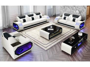 Sofa Set mit Arm licht Akron Farbe, Material & Maße frei wählbar - viele Extras