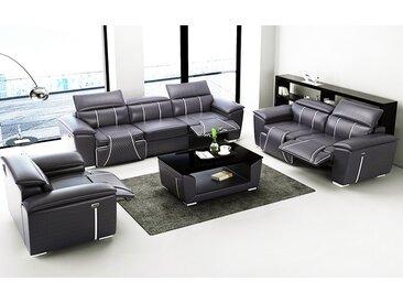 3er Sofa Set Grenoble Schwarz/Weiß