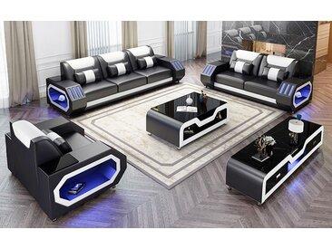 1-2-3er Sofa set mit Arm licht Akron Schwarz/Weiß