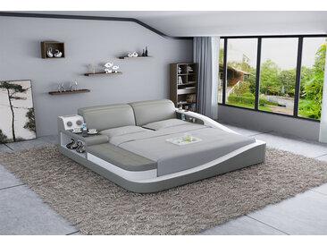 Doppel Bett + Bluetooth Lautsprecher Praha Grau/Weiß