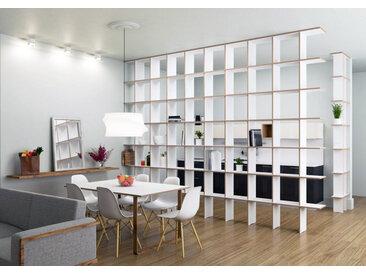 Regal Raumteiler Strada XL - 480 x 280 x 30 cm (B x H x T) - Weiß, Birkenschichtholz, 18 mm - konfigurierbar in 3D