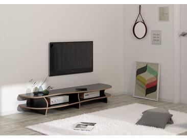 "TV-Lowboard ""Black Carpet"" – konfigurierbar | 160 x 27 x 46 cm | Schwarz, MDF"