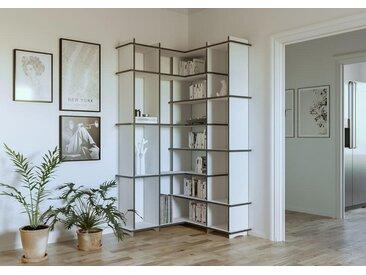 """Eckregal """"Benita"""" – konfigurierbar   100 x 200 x 100 cm   Weiß/Schwarz, MDF"""