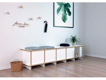 "Schuhbank ""Doro"" – konfigurierbar | 180 x 40 x 40 cm | Weiß, MDF"